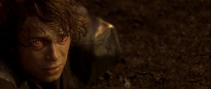 Anakin Skywalker mutilé et brûlé à la fin de son combat avec Obi-Wan dans Star Wars, Episode III, La Revanche des Sith.