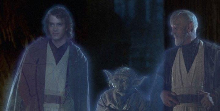 Anakin Skywalker, Yoda et Obi-Wan Kenobi, à la fin de Star Wars, Episode VI, Le Retour du Jedi (version 2004).