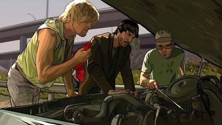Woody Harrelson, Keanu Reeves et Robert Downey Jr. dans A Scanner Darkly de Richard Linklater.