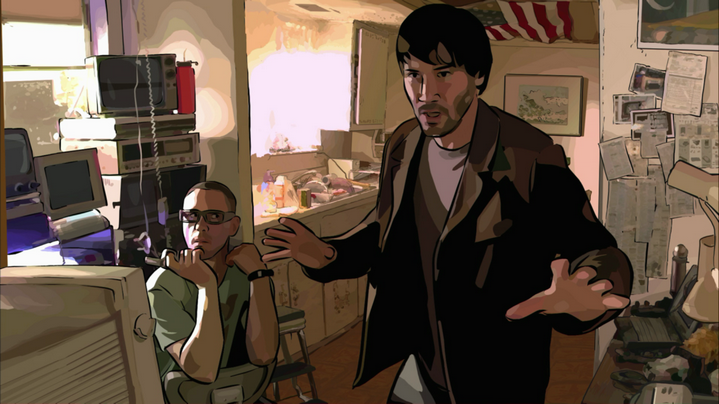 Keanu Reeves et Robert Downey Jr. dans A Scanner Darkly de Richard Linklater.