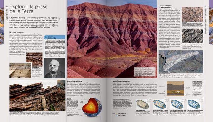 """'Explorer la Terre du passé"""", pages extraites de """"L'Encyclopédie visuelle de la vie préhistorique"""""""