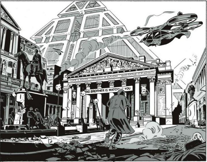 """La pyramide du """"Ministère de la Vérité"""" dans l'adaptation de 1984 en BD par le scénariste Jean-Christophe Derrien et l'illustrateur Rémi Torregrossa (Soleil, 2021)."""