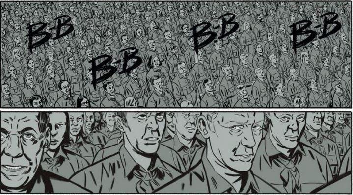 Les employés du Ministère de la Vérité dans l'adaptation de 1984 en BD par Jean-Christophe Derrien et Rémi Torregrossa.