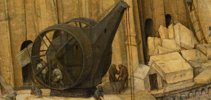 Une machine de levage à roue (détail de la Grande tour de Babel).