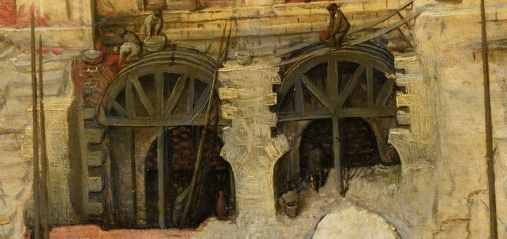 Construction de voûtes en plein cintre (détail de la Grande tour de Babel).
