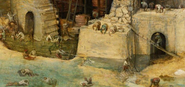 Détail de la Grande tour de Babel par Bruegel montrant le travail harassant de quelques ouvriers.