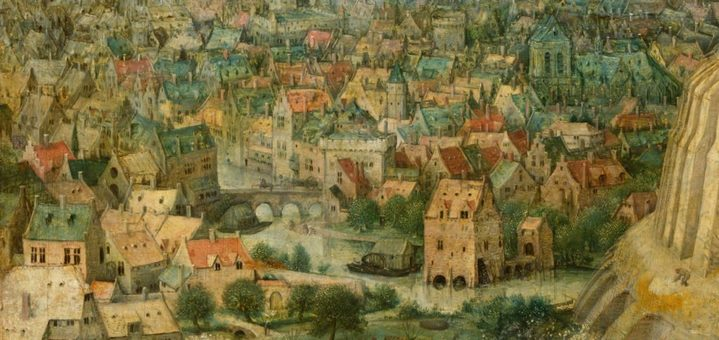 Détail de la ville de Babel dans le tableau de Brueghel.