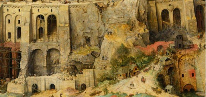 Comme Rome bâtie sur la pierre, la tour de Babel de Bruegel s'est construite sur un gigantesque rocher (détail de la Grande tour).