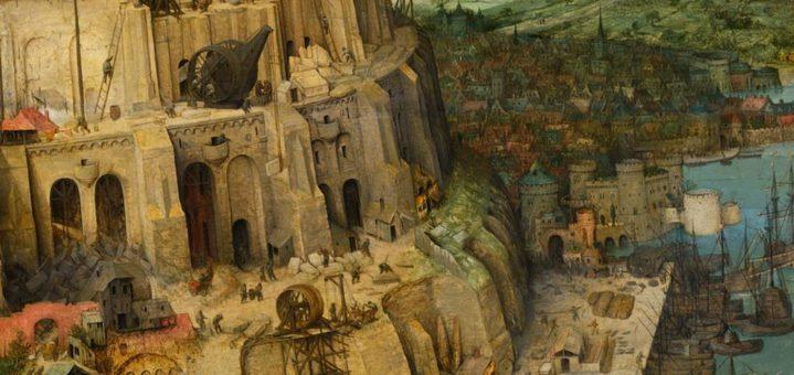 Détail de la ville et du port de Babel dans le tableau de Brueghel.