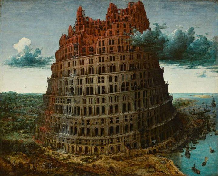 """""""La petite tour de Babel"""" par Pieter Brueghel l'Ancien (vers 1568), huile sur bois de chêne (94 × 74 cm). Source : Wikipédia"""