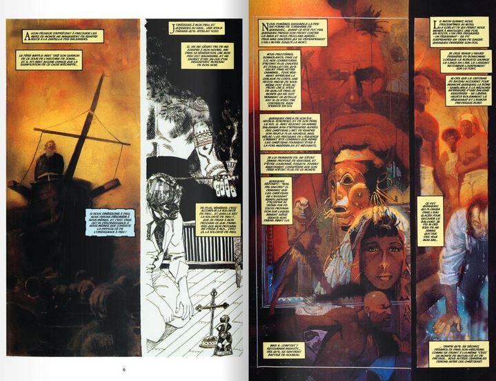 Extrait de l'adaptation de Moby Dick en BD par Bill Sienkiewicz aux éditions Delcourt.