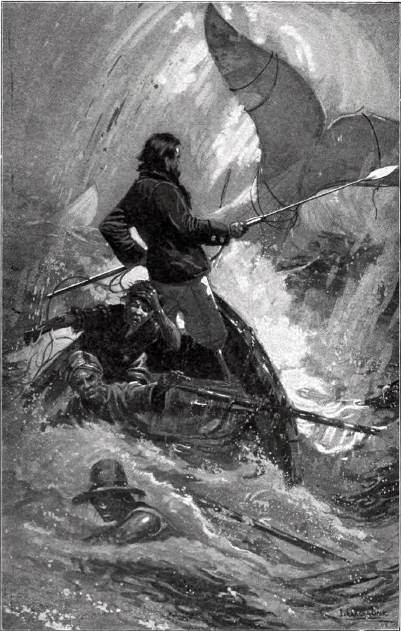 Illustration par I. W. Taber de la lutte finale de Achab et Moby Dick (édition Charles Scribner's Sons, New York). Source : Wikipédia.