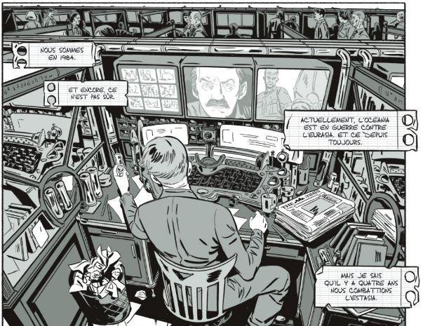 Le poste de travail de Winston Smith dans 1984, archiviste du Ministère de la Vérité (dessin de Rémi Torregrossa). Image de la bande-dessinée publiée par Soleil.