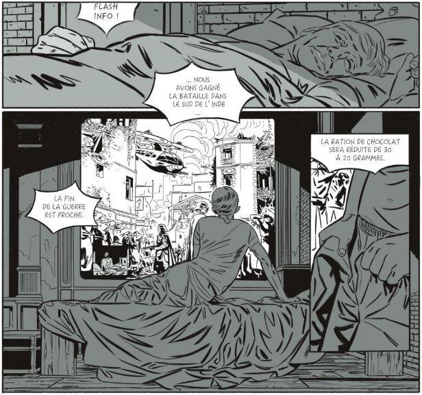 Winston Smith face à la propagande du télécran (dessin de Rémi Torregrossa).