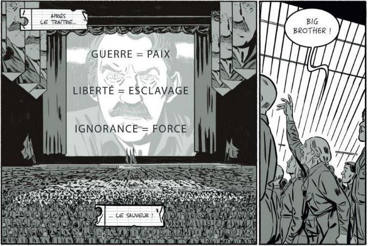 Les deux minutes de la Haine, dessinée par Rémi Torregrossa dans l'adaptation de 1984 publiée chez Soleil.