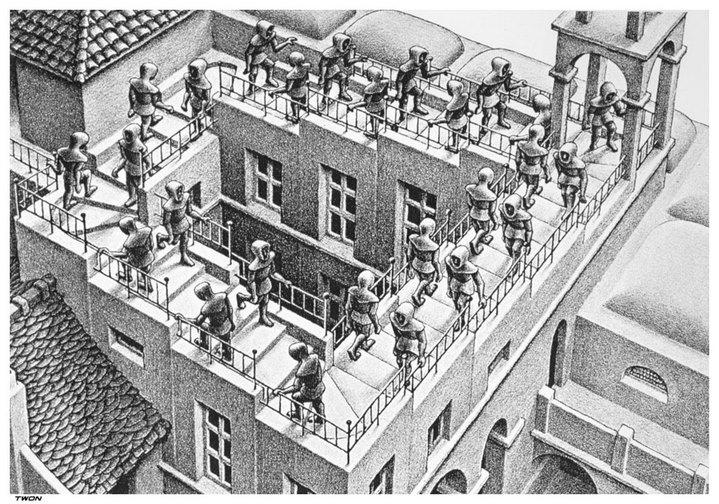 Détail de l'escalier de Penrose dans Montée et descente, lithographie de M. C. Escher (1960).