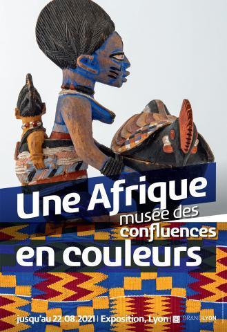 """Affiche de l'exposition """"Une Afrique en couleurs"""" du Musée des Confluences de Lyon."""