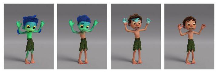Les étapes de la transformation de Luca, un monstre marin, en enfant humain (images Pixar).
