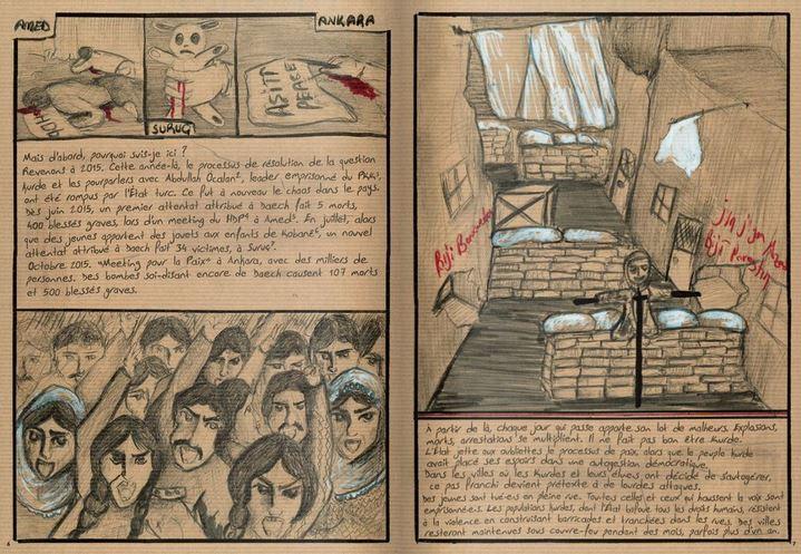 Double-page de la bande-dessinée de témoignage Prison n°5 de Zehra Doğan.