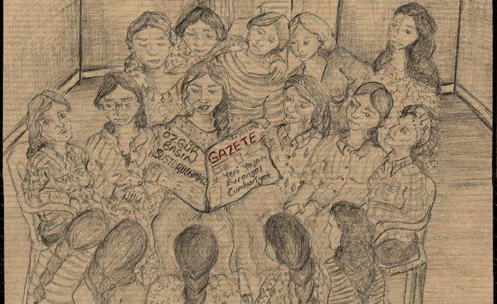 Détail d'une page de la bande-dessinée de témoignage Prison n°5 de Zehra Doğan.