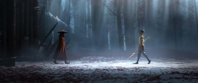 raya et namaari s'affrontent en forêt dans le film de disney