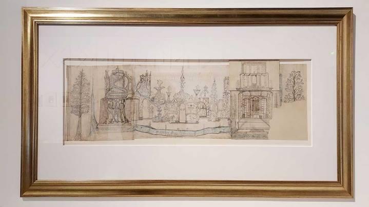 Ferdinand Cheval : plan de la façade Est de son Palais idéal (graphite et crayon de couleur sur six feuilles de papier, 32,5 cm x 96,8 cm, Collection Musée de la Poste à Paris, vers 1882). © Culturellement Vôtre