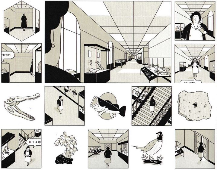 La version finale de cette partie de la scène du musée, par Fabien Roché. © Éditions Delcourt 2021 – Fabien Roché.