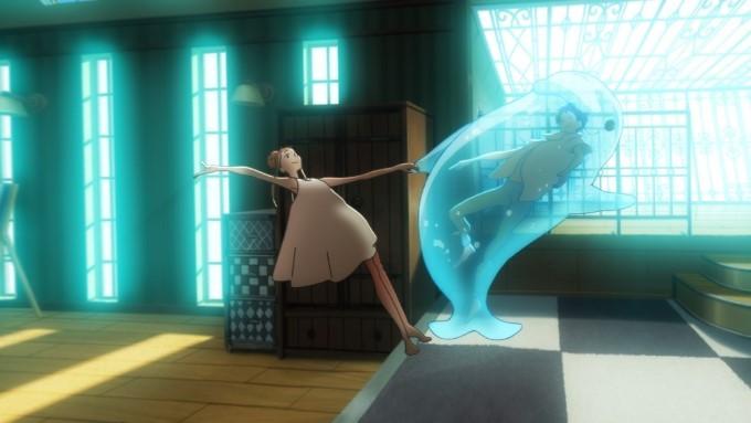 hinako danse avec l'esprit de minato dans un dauphin gonflable