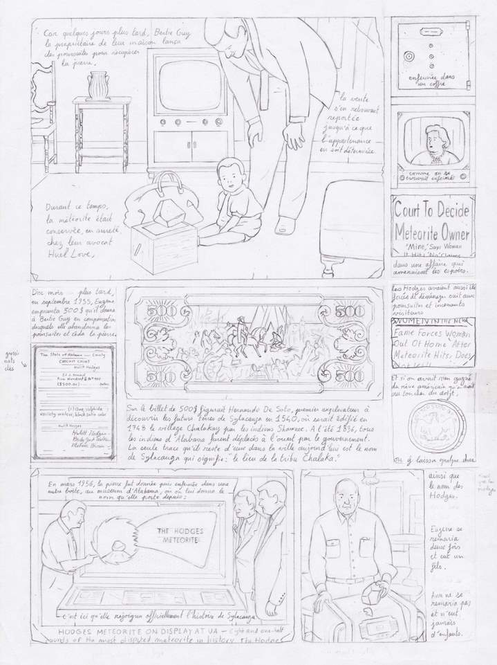 Crayonné grand format de la même page. © Éditions Delcourt 2021 – Fabien Roché.