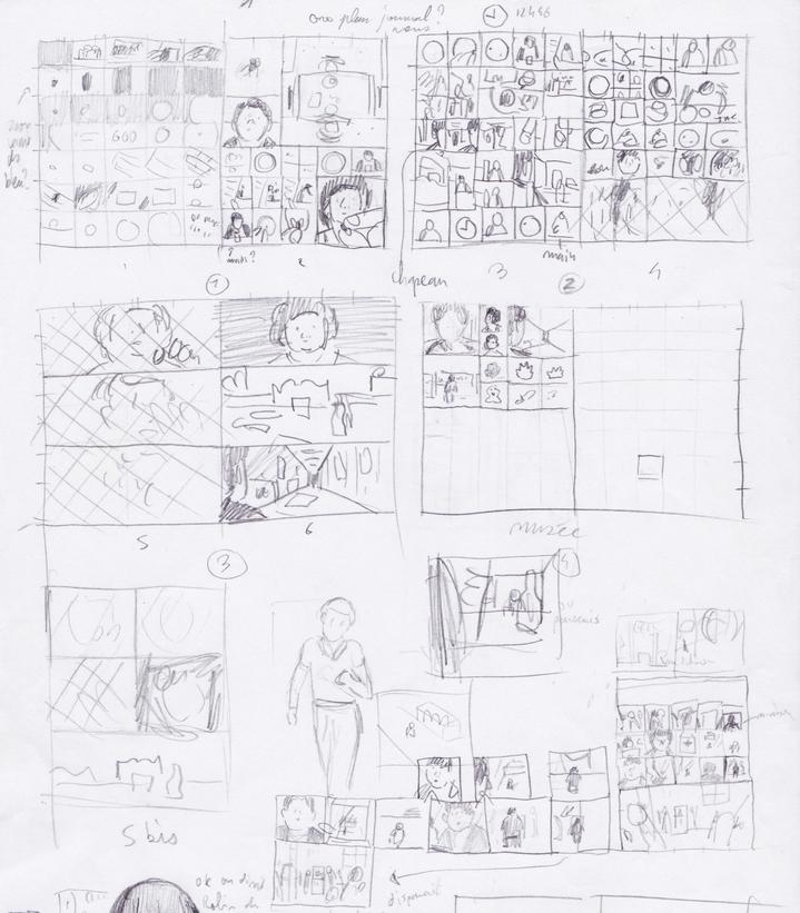 Le dessinateur de BD a souvent recours à un séquencier, ici une sorte de croquis des planches en miniature, qui permettent de visualiser rapidement l'aspect et le rythme de l'album. © Éditions Delcourt 2021 – Fabien Roché.