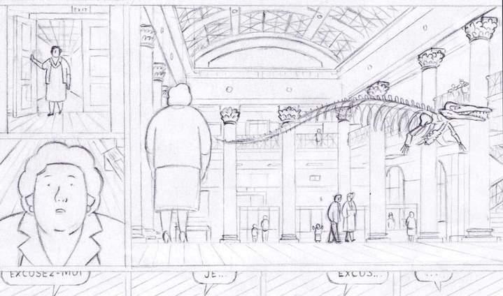 Détail d'un crayonné d'une planche de La Météorite de Hodges. © Éditions Delcourt 2021 – Fabien Roché.